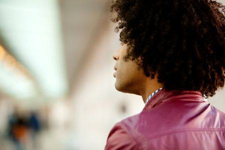 An African American man with afro looking away from the camera Stock Photo - 5971866