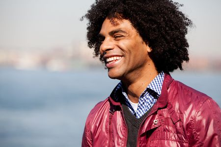 A portrait of a happy laughing African American man Stock Photo - 5971814