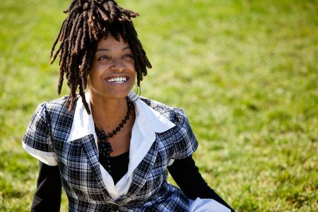 An attractive African American woman with a candid smile Stock Photo - 5981934