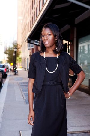An African American business woman in an urban setting. photo