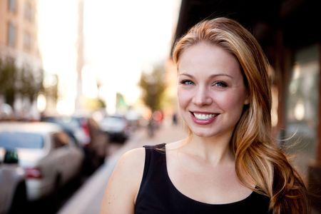 A street portrait of a beautiful business woman