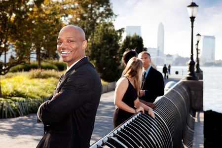 big smile: An African American business man with a big smile