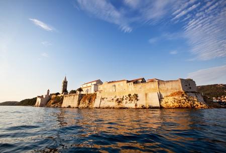 Medieval fortified town on the ocean, Rab, Croatia photo
