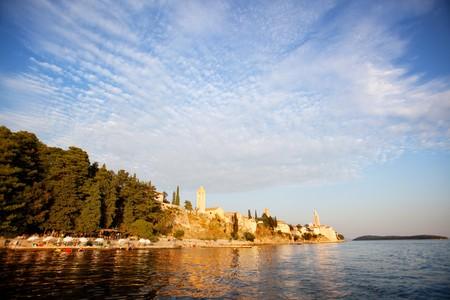A beach area on the coast of Rab, Croatia  photo