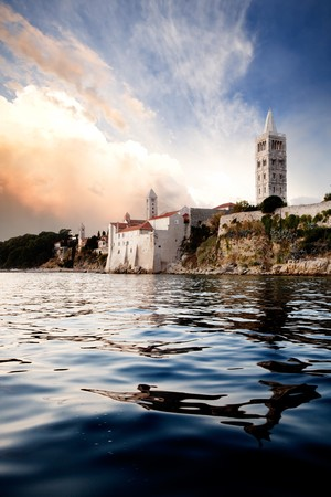 An old medieval town on the island of Rab, Croatia photo