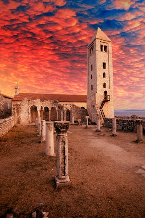 Ruins of the Church of St. John the Evangelist in Rab Croatia - a popular tourist attraction photo