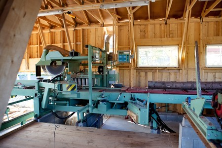 lumber mill: An interior of a small saw mill