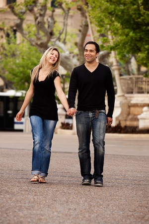 A man and woman in an urban setting in France Stock Photo - 7660821