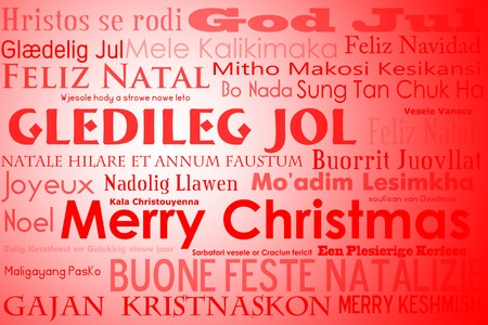 A merry christmas tag cloud with many different languages saying merry christmas photo