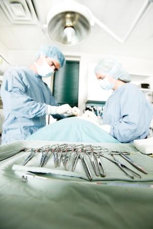 veterinaria: Una fila de instrumentos de cirug�a est�riles con vivir una cirug�a que se realiza en segundo plano  Foto de archivo