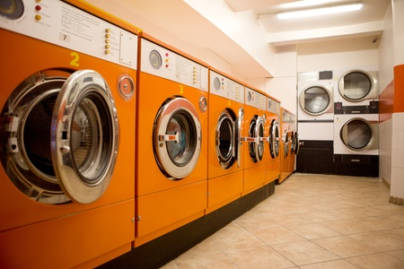 laundry: An interior of a retro looking laundromat
