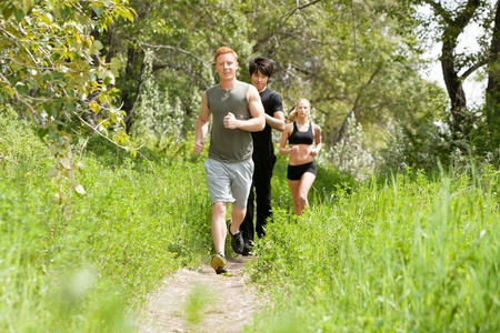 Group of healthy friends jogging in the forest photo