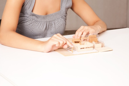 functionalism: A detail of a interior designer working on a model house Stock Photo