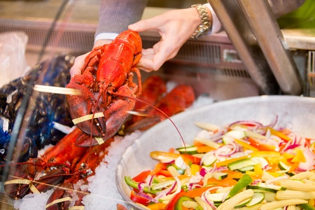 A lobster for a sale at a fresh seafood counter in a grocery store Stock Photo - 9330713