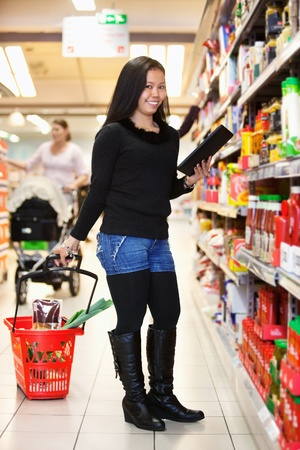 Full length of a woman with shopping basket holding tablet pc in shopping store Stock Photo - 9470628