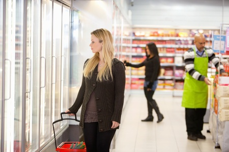 Woman in shopping mall looking through cooler window with people in the background Stock Photo - 9599897