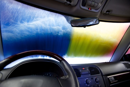 carwash: Interior of a car in an automatic car wash Stock Photo