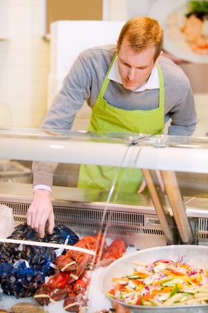 A fresh fish counter and a grocery store Stock Photo - 9887432