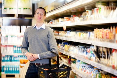 consumers: Portrait of a serious customer in a grocery store