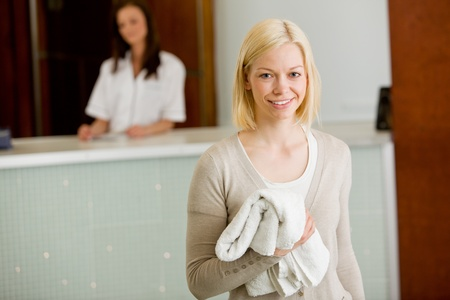 Portrait of a happy spa customer smiling and looking at the camera Stock Photo - 9887004