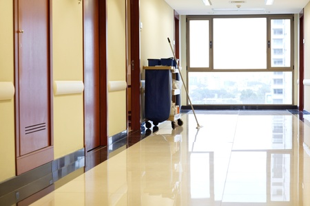 cleaning floor: Interior of empty corridor of hospital