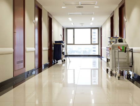 emergency cart: Interior of clean reflective empty hallway of hospital