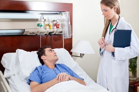 seriousness: Patient consulting doctor in hospital room