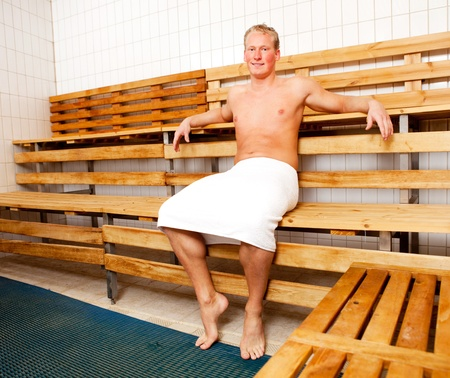 bathhouse: Portrait of a man relaxing in a sauna