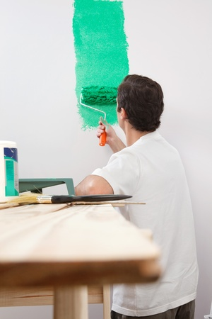 refurbish: Rear view of man painting his house with color roller