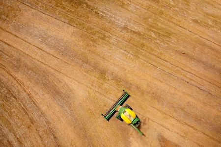 Green harvester in a lentil field creating an abstract background texture Stock Photo - 10536726