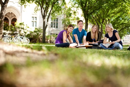 school campus: Group study session with four students Stock Photo