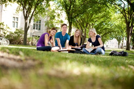 campuses: Happy group of university students looking at the camera Stock Photo