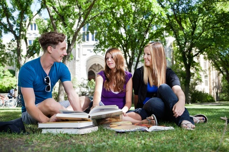 study group: College students studying on university campus ground Stock Photo