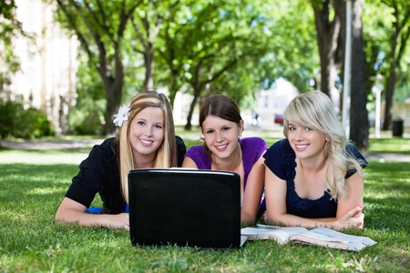 Portrait of three students working on laptop on campus ground photo