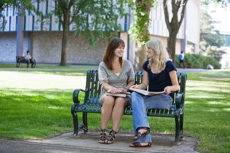 Glückliche junge Erwachsene sitzen auf der Bank am College-Campus