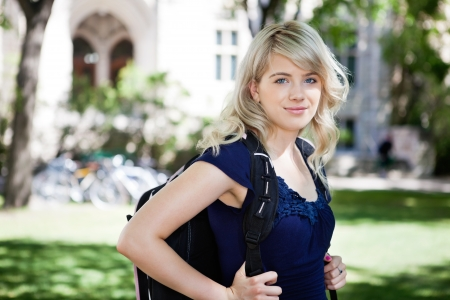 Portrait of sweet college girl with backpack Stock Photo - 10762342