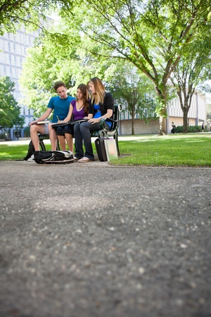 assignment: Students completing assignment at university campus