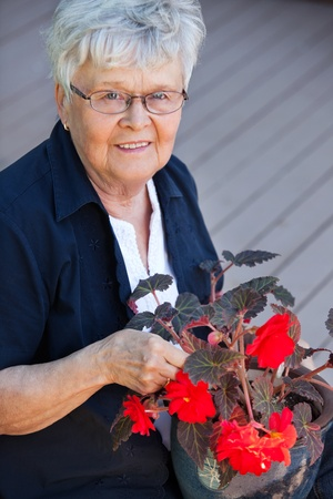 Portrait of smiling elderly woman with flower pot Stock Photo - 11048118