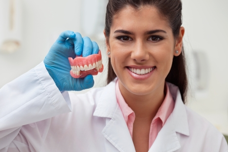 Portrait of female dentist holding dental mold at clinic photo