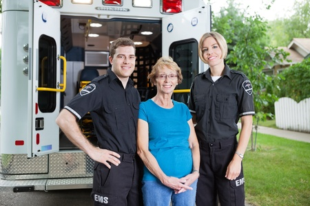 cfr: Portrait of two ambulance with patient Stock Photo