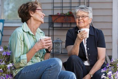 Senior female friends enjoying cup of tea Stock Photo - 11048113