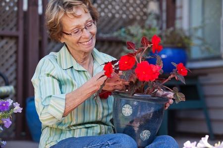 Cheerful senior woman looking at flower pot Stock Photo - 11048136