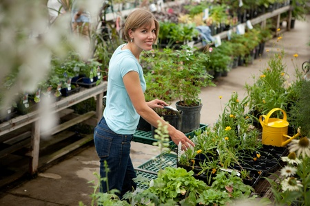 Attractive Woman in Garden Center shopping for plants photo