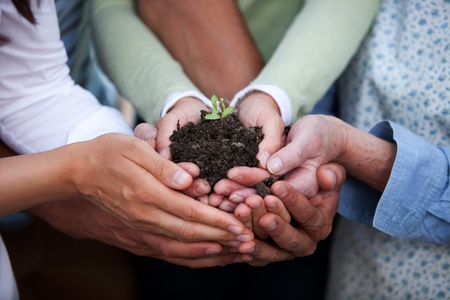 cultivate: Group of people of all ages holding a plant in dirt