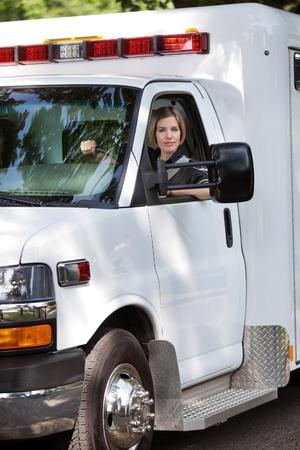 Portrait of a female ambulance driver photo
