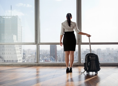 businesswoman skirt: Rear view of business woman holding suitcase