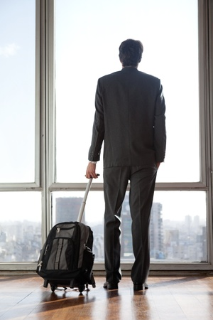 business traveller: Rear view of businessman in formal wear holding luggage