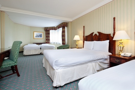 suite: Interior of clean and tidy hotel bedroom