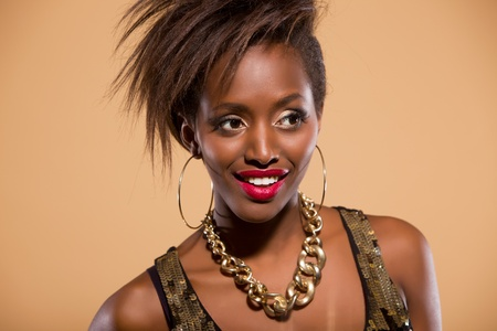female sexy chains: Attractive african american model looking to the side