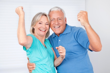 pensions: Portrait of cheerful senior man with happy mature woman